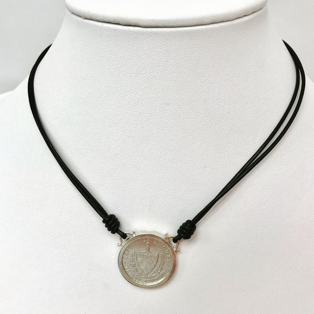 Silver Veinte Centavo Coin on Leather Necklace