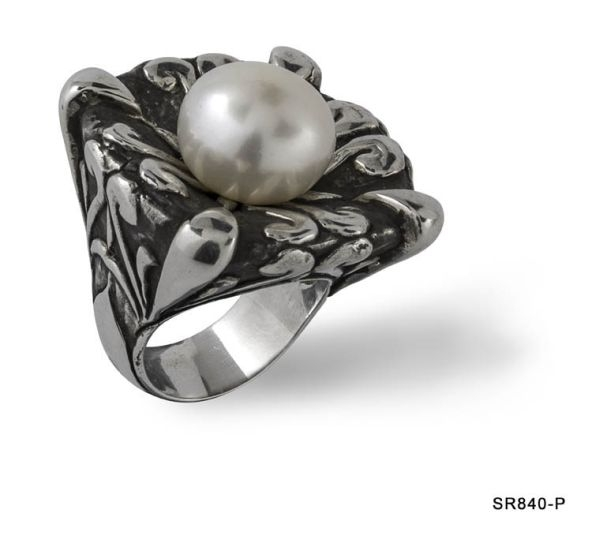 Exotic Silver Pearl Ring