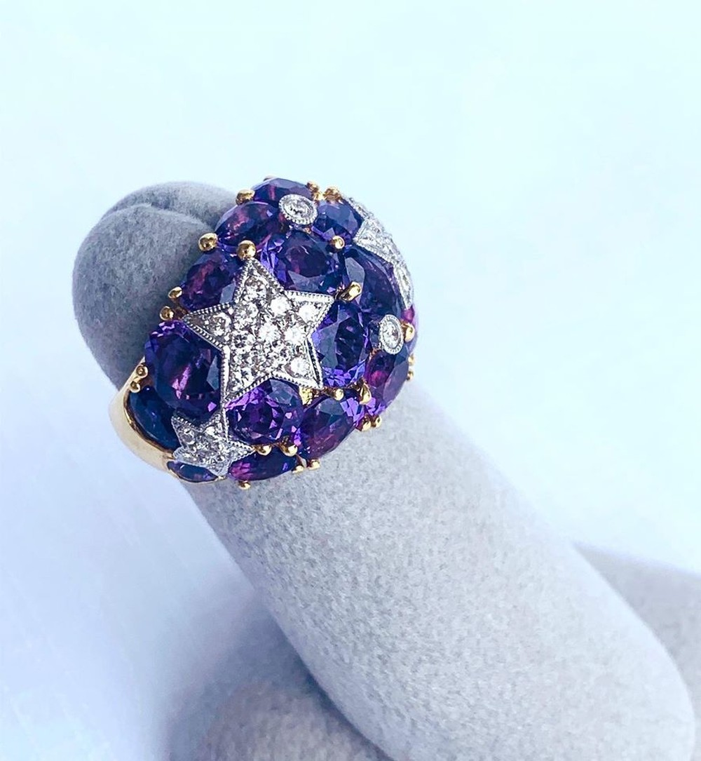 Heavens Stars Collection Amethyst and Diamond Ring