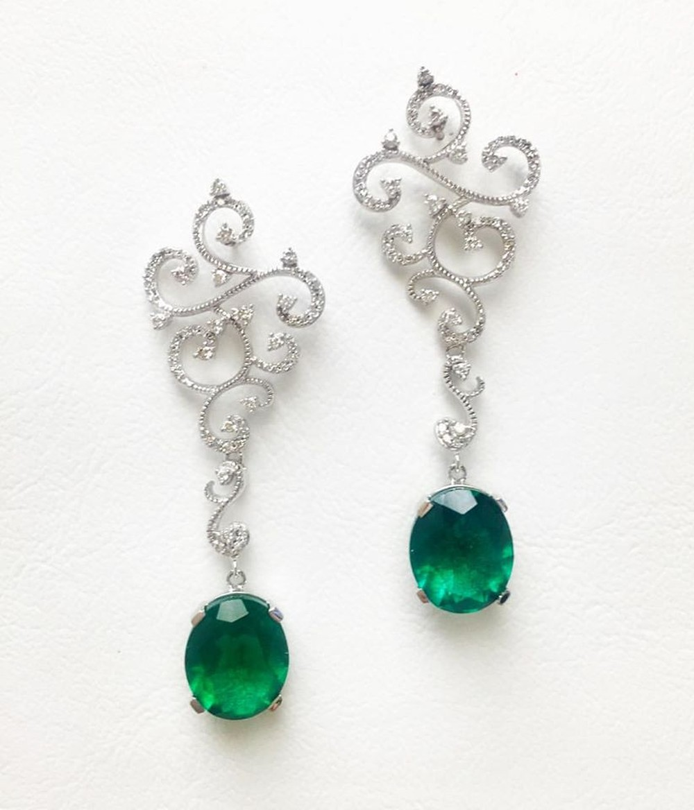 Swirl Drop Earrings with Emeralds and Diamonds