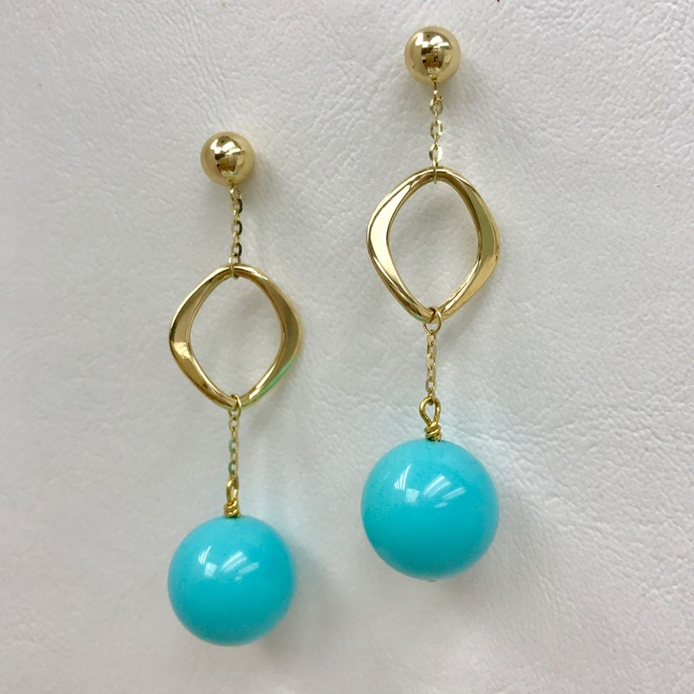 Geometric Gold and Turquoise Earrings
