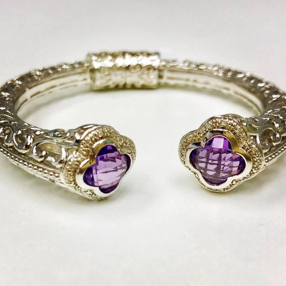 Faceted Clover Gemstone and Diamond Filigree Bangle Bracelet
