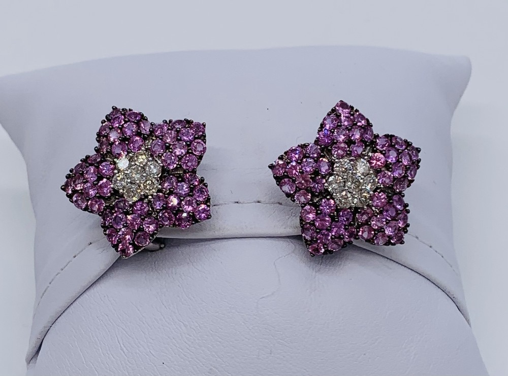 Pink Sapphire and Diamond Flower Earrings