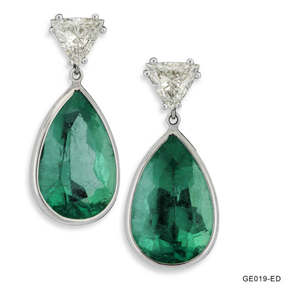 Emerald Drop and Diamond Trillion Earrings