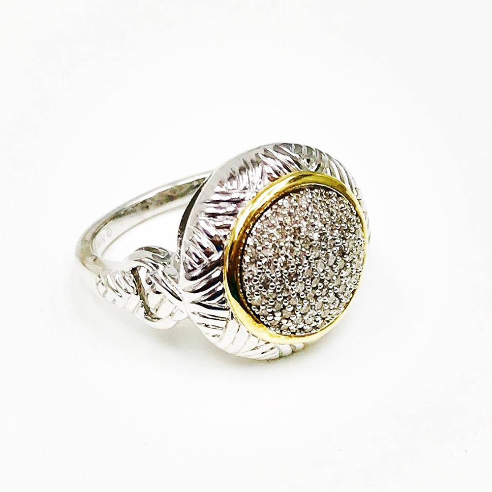 Cluster Diamond Silver and Gold Ring