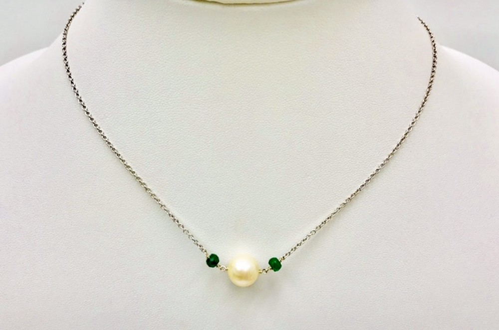 Simplicity Pearl and Emerald Chain Necklace