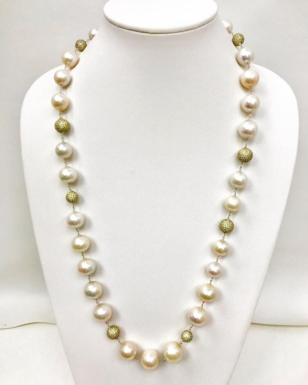 Jumbo Pearl and Yellow Quartz Sterling Silver Necklace