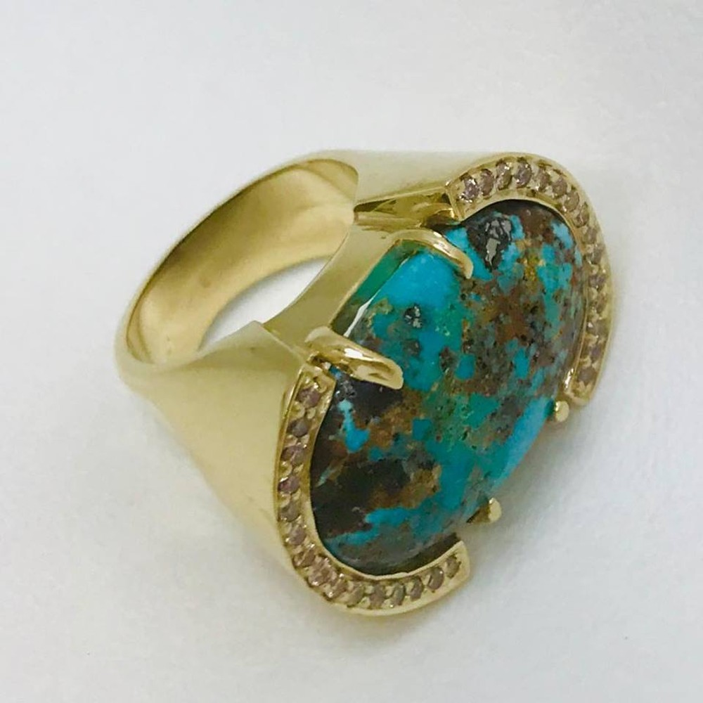 Persian Turquoise and Champagne Diamond Ring