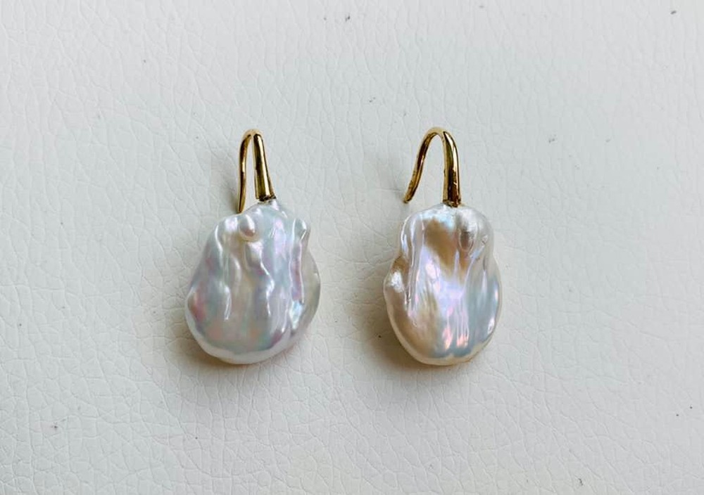 Baroque Pearl and Gold Open French Back Earrings