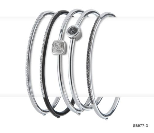 Diamond and Black Diamond Bangles (Sold Separately)