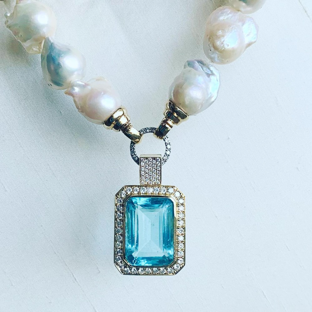 Aquamarine and Diamond Pendant Necklace on Baroque Pearls