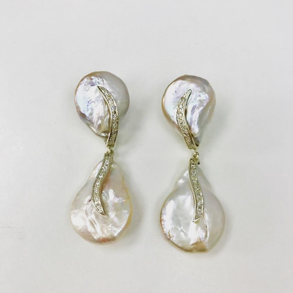 Baroque Pearls and Diamonds Double Drop Earrings