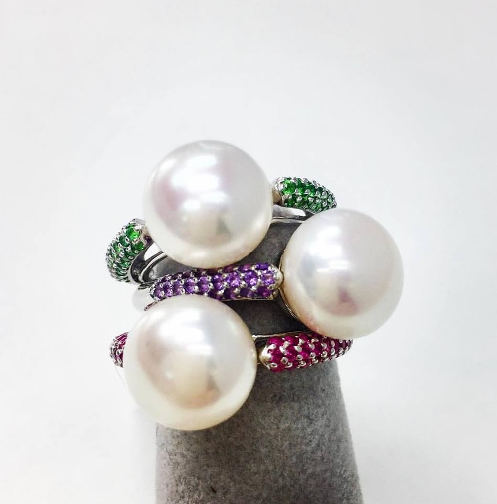 Stackable Pearl and Gemstone Rings (Sold Separately)