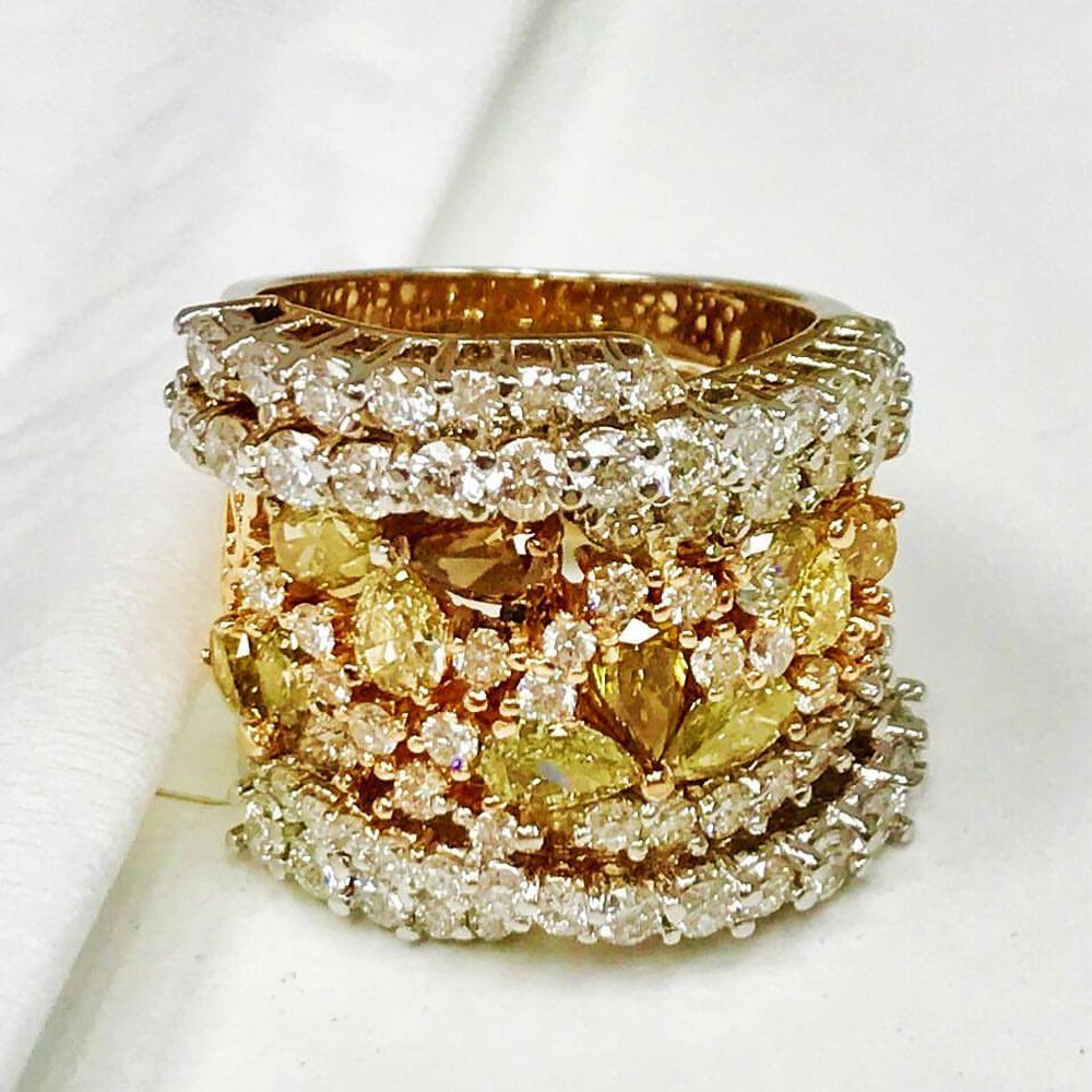 Wrap Around Ring with Yellow, Champagne and White Diamonds