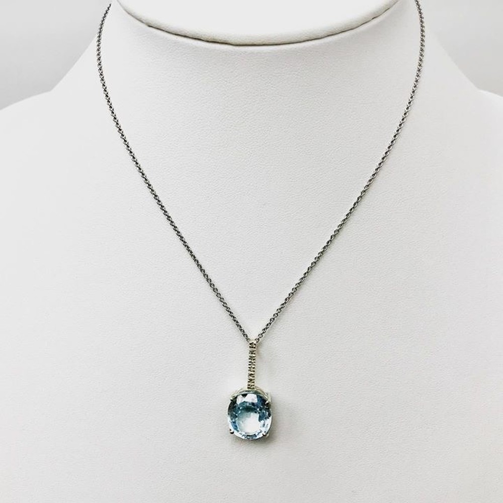 Sky Blue Topaz and Diamond Pendant Necklace in Sterling Silver