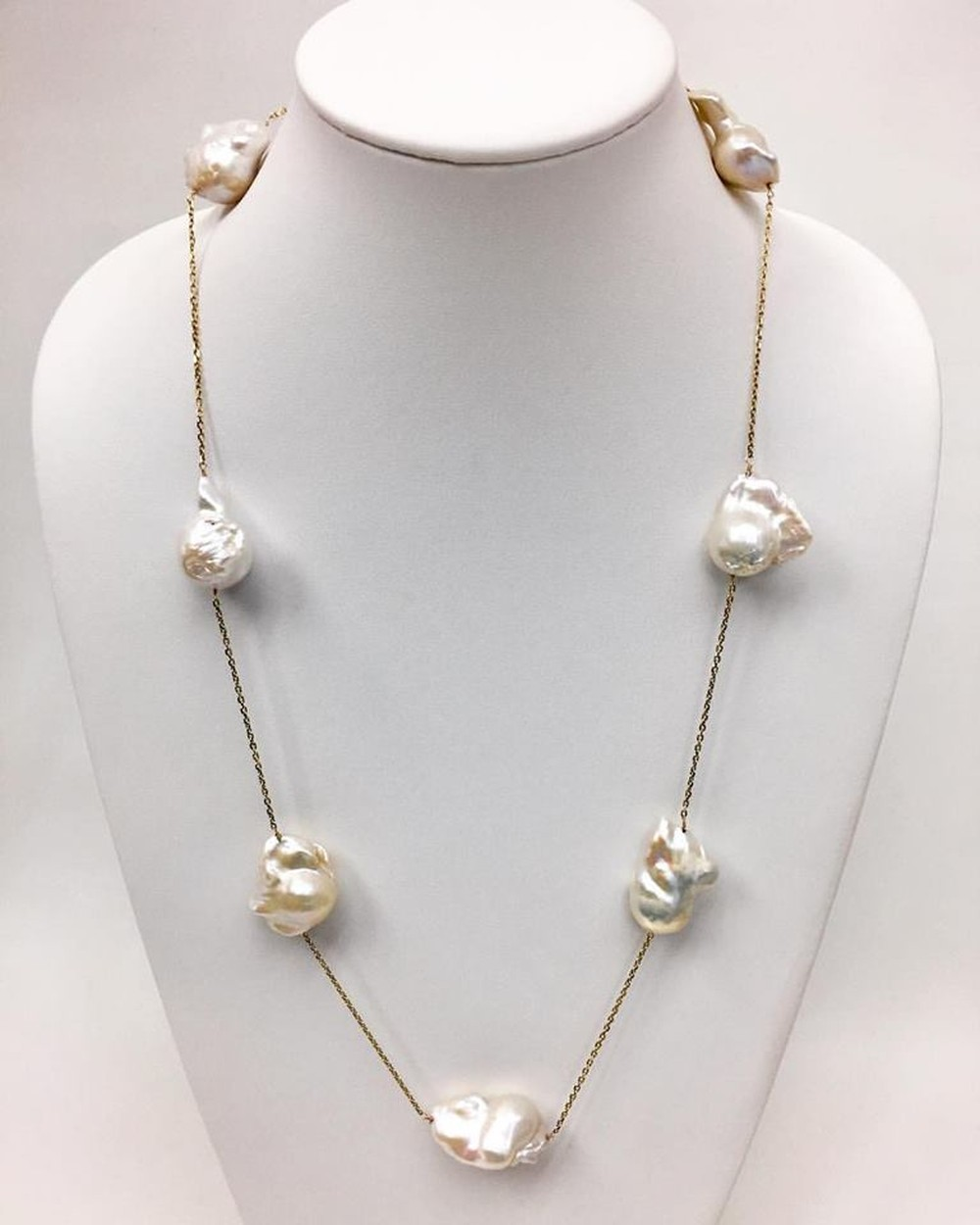 Jumbo Baroque Pearls Long Chain Station Necklace