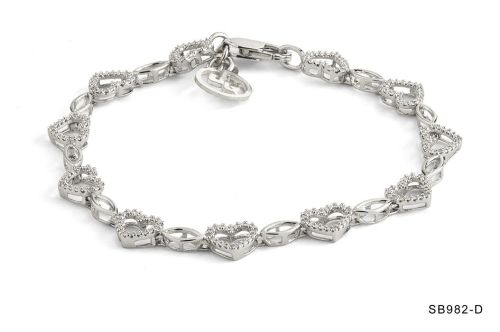Diamond Open Heart Chain Bracelet