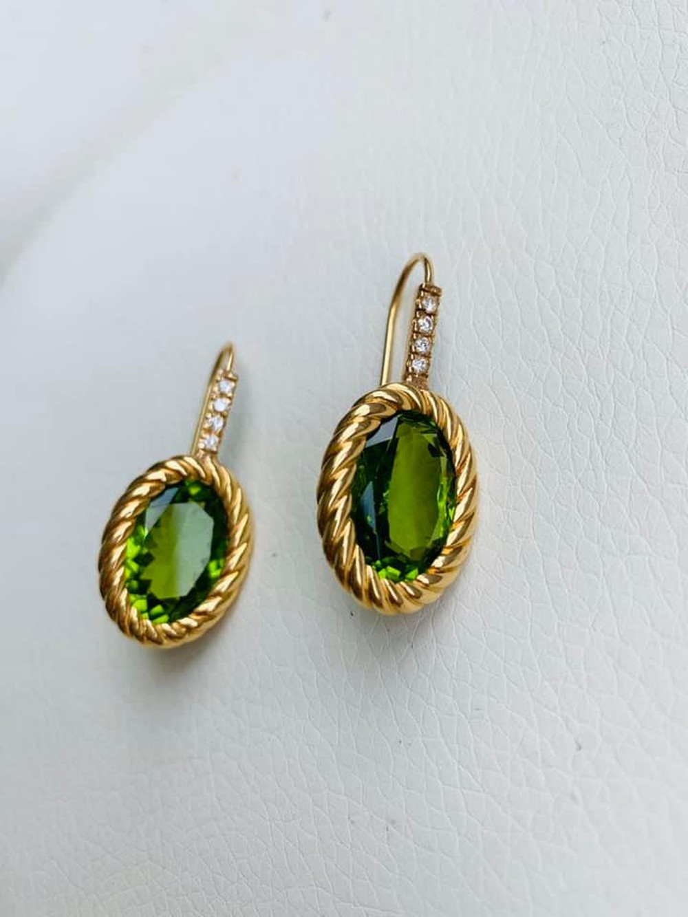 African Peridot and Diamond Earrings