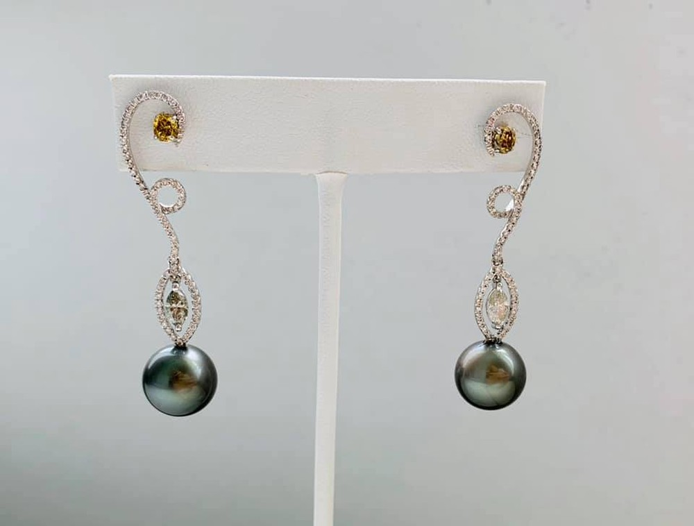 South Sea Black Pearl, Champagne, Green and White Diamond Earrings