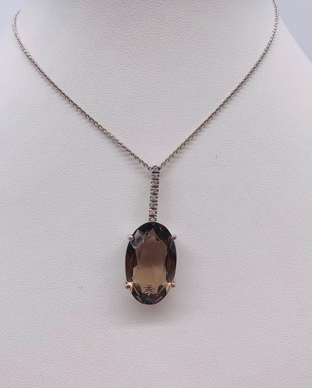 Smokey Topaz and Diamond Necklace in Sterling Silver