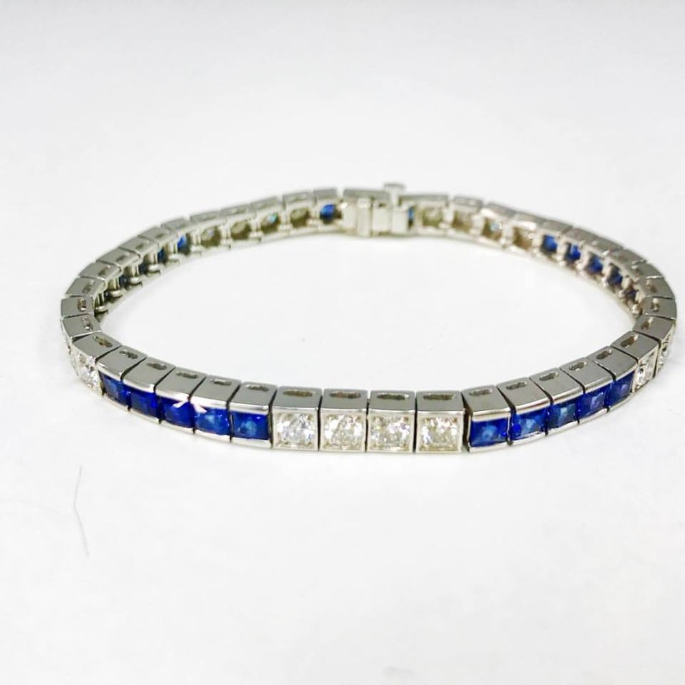 Sapphire and Diamond Channel Set Tennis Bracelet