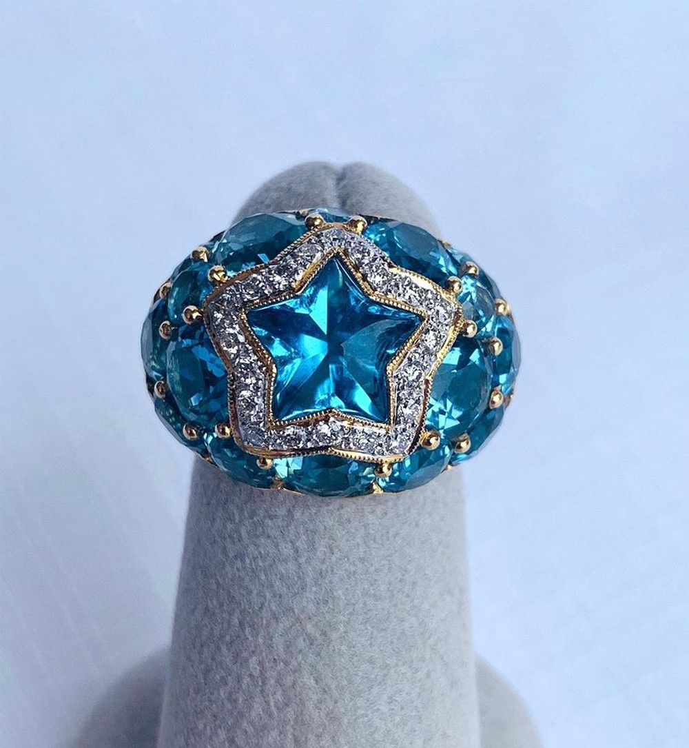 Heavens Stars Collection Blue Topaz and Diamond Ring