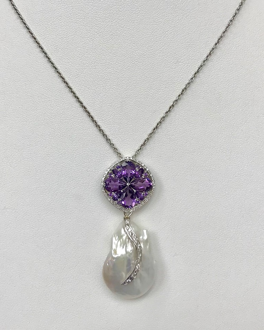 Amethyst and Diamond Cluster with Baroque Pearl Necklace